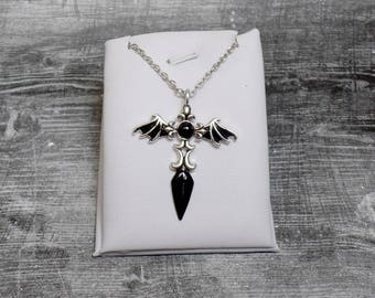 Black Gothic Sword Necklace - Bat Wing Necklace - Bat Wing Sword - Sword Charm - Hand Painted Necklace - Free US Shipping