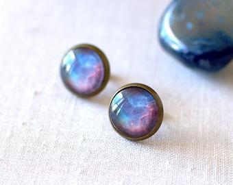 Blue & Red Galaxy Earrings. Space Earrings. Universe Earrings. Glass Dome Earrings. Space Post Earrings. Galaxy Jewelry.
