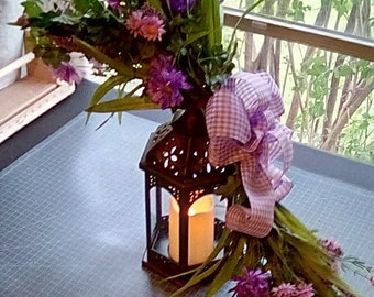 Floral Swag with Lantern