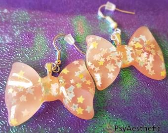 Pale pink bow earrings