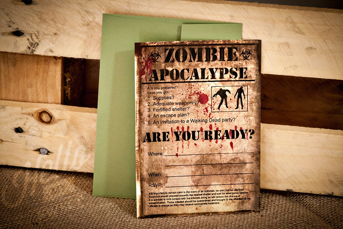 Zombie Party Invitation INSTANT DOWNLOAD Editable PDF