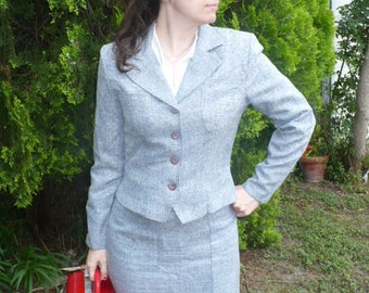 Vintage All That Jazz 1980s does 40s sexy skirt suit secretary size small by jeansvintagecloset on Etsy