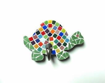 Turtle Wall Hook, children's room decor, turtle display, turtle hook, kids bathroom decor, nursery decor, mosaic turtle, sea animal art