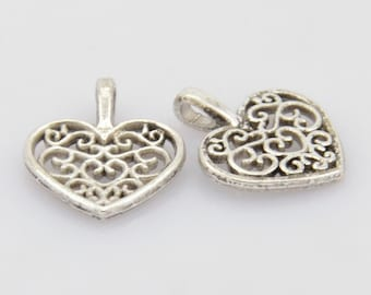 Antique Silver Filigree Heart Charms (1842)