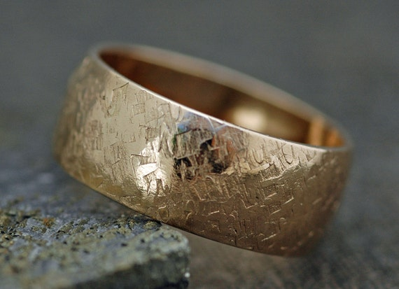 14k Gold Wedding Band with Raw Silk Texture- Custom Made