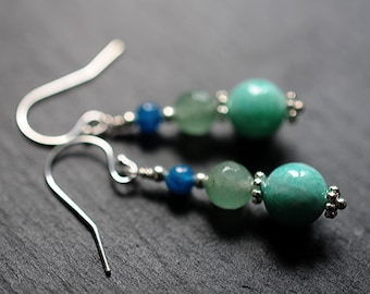 Aqua blue gemstone earrings with amazonite, aventurine and apatite