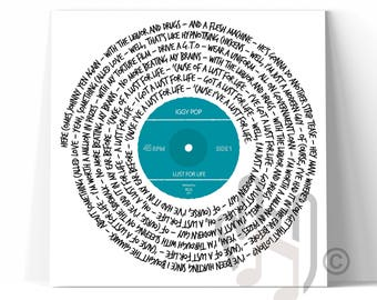 Any Favourite Song Lyrics Vinyl Record CANVAS WALL ART Box Framed Print - Personalisation Available - Perfect Gift for Music Lovers
