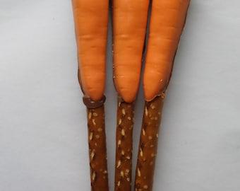 Chocolate Carrot Pretzel Rods