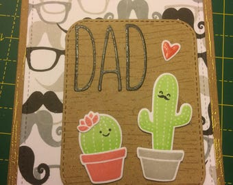 Dad birthday or Father's Day, handmade cactus card
