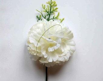 Daphne Boutonniere Buttonhole Corsage Carnation Wedding Flowers Groom Best Man