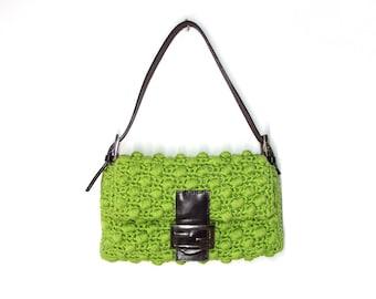 Fendi Green Popcorn Crochet Logo Flap Baguette Shoulder Handbag Bag Mama Mini Baguette Purse Vintage