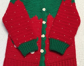 Red Crocheted Strawberry Sweaters.