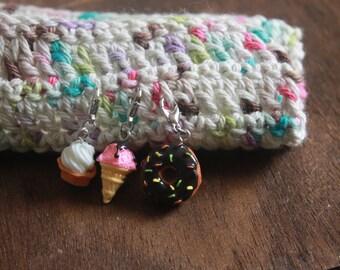 DESSERT Knitting Crochet Progress Keepers set of 3 TASTY TREATS Stitch Marker Set - Crochet Marker - Donut Ice Cream Cupcake Progress Keeper