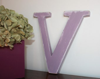 Letter V wood purple patina to hang