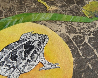 "Original Art-Card (1 card) ""Toad & Harvest Moon"" envelope included"