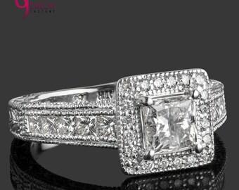 Princess Cut Diamond Engagement Ring, 1.77 TCW, Princess Cut Diamond Ring, Diamond Engagement Ring, Art Deco,Milgrain Edged, Halo Ring, 18k