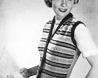 Vintage Knit Sweater Vest Pattern Women 1950's Graphic Stripes Slip Stitch
