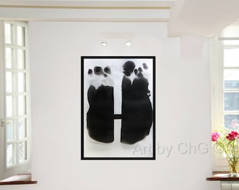 Contemporary abstract art, large original abstract painting, black and white, minimalist ink,black shapes, Art by ChG, work on paper