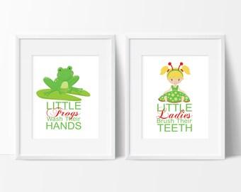 Kids Bathroom Art - Ladybugs - Bathroom Rules - Bathroom Prints - Frog Bathroom Decor - Child Bathroom Art - Frog Bathroom Art - Ladybugs