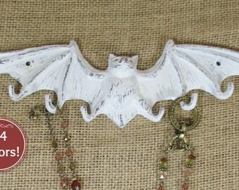 Bat Hook Bright White Cast Iron Shabby Chic Bat Jewelry Hook Bat Clothes Hook