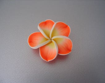 Yellow orange frangipani flower bead 35 mm