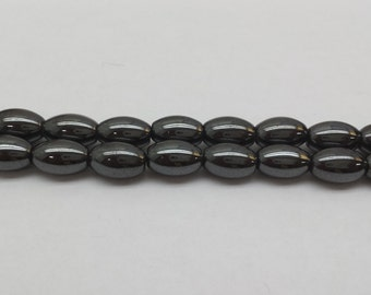 Magnetic Hematite rice oval 16""