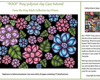 POOF Posy polymer clay Cane tutorial From the Posy Patch Collection by CHarm