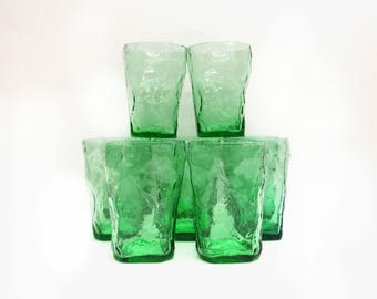 Vintage Seneca Apple Green Driftwood Crinkle Glass Tumblers, Set of 10 (E9766)