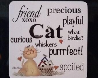 Cat Magnet, Refrigerator Magnet, Cat Lover Magnet, Fridge Magnet, Cat Words Magnet, Cat, Cat Lovers, Cat Refrigerator Magnet, Pat Isaac