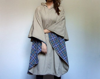 Beige Cape Coat Hooded Cape Cloak Zip Up Fall Jacket Poncho Vintage 90s Cape