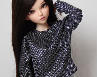 Graphite batwing blouse with metalic thread for minifee and other slim msd dolls