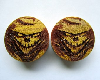 """Handmade Organic Wood Ear Plugs featuring Tommy Castillo's """"The Scarecrow"""" - You Choose Size from 9/16"""" - 30mm - BRAND NEW"""