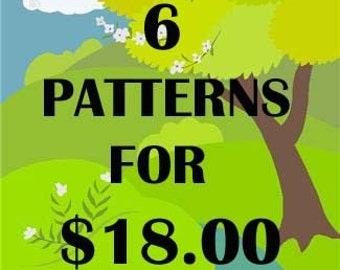 ANY 6 PDF Crochet Patterns For 18 DOLLARS