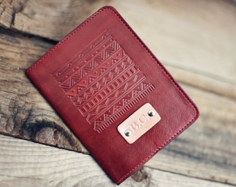SALE 50% Personalized Leather Passport Cover, Leather, holder, travel, Aztec Passport Cover, handmade,  name initials