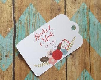 Simple Wedding Tag, Floral Wedding Tag, Christmas Tag, Winter Wedding, Watercolor, Thank You Tag, Custom Wedding Tag, Bridal Shower (055)