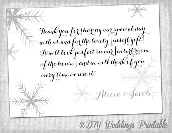 Awesome Snowflake Thank You Card Template Snowflake Winter