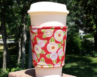 FREE SHIPPING UPGRADE with minimum -  Fabric coffee cozy / cup holder / coffee sleeve  --  Mary Englebreit flowers on red