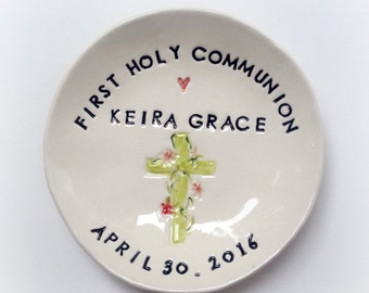 Personalized First Communion gift ceramic ring dish keepsake handmade by Cathie Carlson