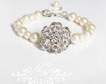 Wedding Jewelry Single Strand Swarovski Pearl Bracelet Bridal Bracelet Bridesmaids Bracelet Flower girl Bracelet Rhinestone - SANNA