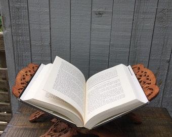 Carved wood book holder.