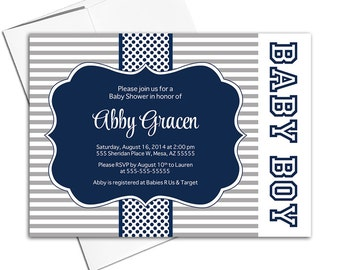 Printable baby shower invitations for baby shower boys - boys baby shower invites - navy gray invitations for boys - WLP00712