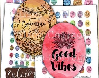 Printable Boho Digital Collage Sheet, Oval Images, Printable Download, 30x40mm, 22x30mm, 18x28mm, 13x18mm, Oval Collage Sheet, CalicoCollage
