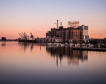 Baltimore Skyline, Baltimore Inner Harbor, Domino Sugar,  Fine Art Color Photograph, Baltimore Art