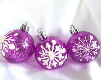 3 Vintage Plastic Christmas Ornaments, Mid Century Purple Snowflake Ornaments with Tinsel Inside