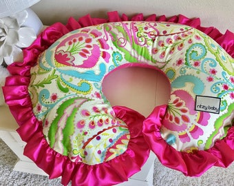 Kumari Garden Teja Pink Nursing Pillow Cover, Nursing Pillow Covers, Kumari Teja Pink Reversible Boppy Covers, Personalize your Boppy Cover