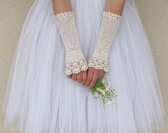 Ivory Bridal Gloves, Victorian Gloves, Bridal Lace Gloves, Ivory Wedding Gloves, Fingerless Gloves, Crochet Gloves, Lace Gloves, NOSTALGIA