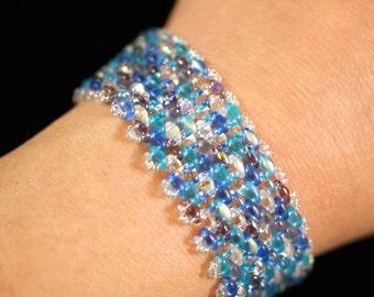 Variegated blues and purples peyote superduo bracelet