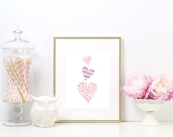 Nursery Print, Instant download, Watercolor hearts, Girls room print, Downloadable print, Nursery art, Child's room print, Wall decor