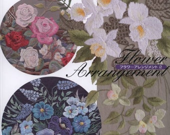 """23 EMBROIDERY FLOWER PATTERN-""""Flower Arrangement""""-Japanese Craft E-Book #504.Four Instant Download Pdf files"""