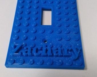 Lego light switch plate with your child's name on it